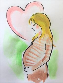 Piirroskuva odottavasta äidistä
