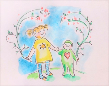 Piirroskuva, jossa pieni tyttö ja vauva